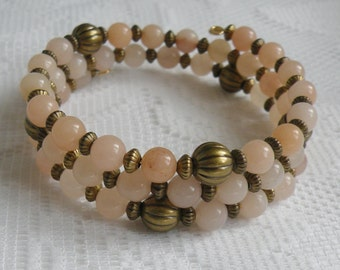 Pink Aventurine Wrap-Around Bracelet with Antiqued Gold-Plated Corrugated Brass Beads