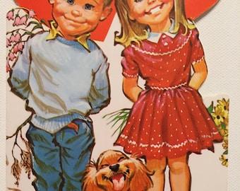 Vintage Valentine Card Grandma Kids Puppie 1960s NOS Unused