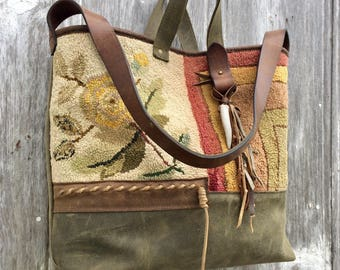 Carpet Bag 1883 Hooked Rug and Distressed Brown and Evergreen Leather Rustic Yellow Rose Victorian Large Tote Bag by Stacy Leigh