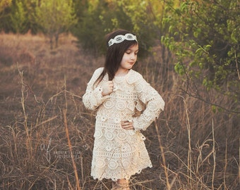 lace girl dress, long sleeve lace dress, flower girl dress, lace flower girl dresses, ivory baby dress, long sleeve flower girl dress, boho