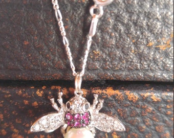 "18"" Sterling Silver Signed C.A.N. New Old Stock Pink Rhinestone Pearl Belly Insect Fly Honey Bee Bumble Bee Women's Vintage Charm Necklace"