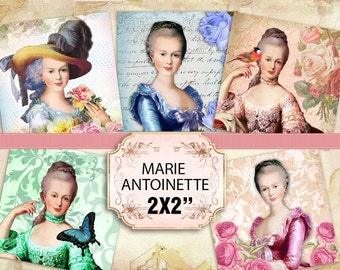 Printable Beautiful Marie Antoinette pedant size 2x2 inches (419) Buy 3 - get 1 bonus