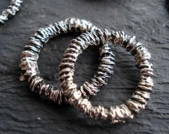 Antique Silver Rustic Ring, Pack of 6, Mykonos Beads, Greek Metal