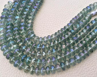 New Stock Full 8 Inch Strand Mystic RAINBOW GREEN Quartz Faceted Rondelles Briolettes, AAA Quality,Best Cut, 8-8.5mm Size,Great Item