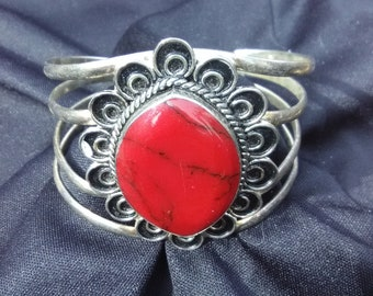Vintage Red Turquoise Cuff Bracelet/Natural Stone Jewelry/Native American/Zuni/Boho/Accessories/Tribal/Eco Friendly/Earth Stone/