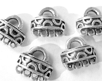 18 Silver connectors ethnic earring dangles antiqued silver pendants boho findings Bus835-YY2