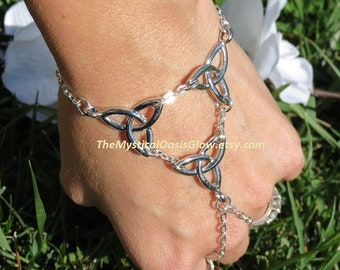 Celtic Jewelry, Celtic Slave bracelets, Celtic Hand Chain, Infinity Slave Bracelet, Celtic Ring, Slave Ring  Celtic Irish Jewelry