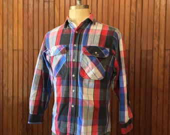 70s Medium Flannel Work Shirt Private Property Men's Plaid Heavy Cotton Made In USA