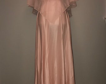 Vintage 70's Pink Dress with Sheer Overlay/Cape / size 7/8 / by Creations of Aria