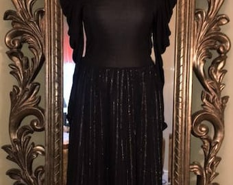 Iconic Vintage 80's Party Dress. Black with Silver Lurex- Full Gathered Sleeves and V-Cut Back Detail. UK Size 8-10, USA Size 4-6.