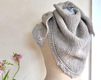 Hand Knit Shawl Oatmeal Bulky Undyed Wool Triangle Scarf Super Soft Peruvian Wool