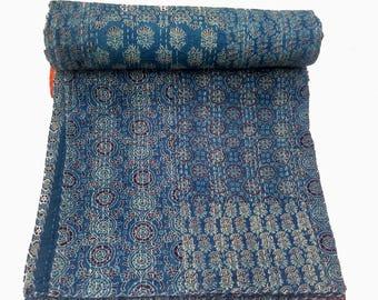 Patchwork handblock Kantha,Bedcover,Bedspread,Blanket,Throw,Kantha Quilt,handart Kantha Queen Size Quilt,king size Quilt,Baby quilt throw