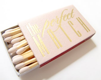The Perfect Match Matchboxes Empty- Wedding Favors Foil Stamped Personalized Matches Rehearsal Bridal Shower - International Shipping
