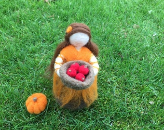 Autumn Waldorf Doll Needle Felted Harvest Girl Blessing Doll