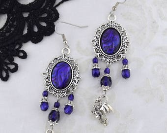 Statement Jewelry - Mother of Dragons - Fancy Purple and Antique Silver Earrings