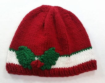Christmas Hat with Holly - Christmas Baby Hat - Baby Christmas Hat - Christmas Beanie - Holly Hat - Holly Beanie - Merry Christmas Hat