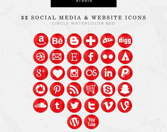 32 Round/Circle Watercolor Red Website/Blog + Social Media Icons Pack