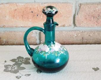 1960s handpainted teal glass sauce, vinegar, oil cruet bottle, floral design