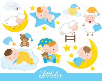 Sleepy baby boy - baby clipart - sleep clipart - 15090