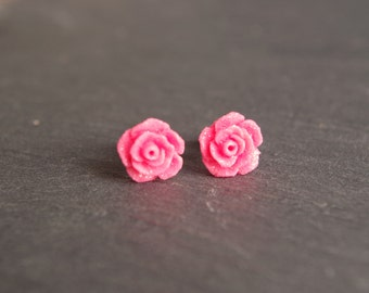 Pink Flower Stud Earring Rose Stud  Earrings Rosebud Earrings Hypoallergenic Studs Rose Earrings gift for her earrings Wedding gift Jewelry