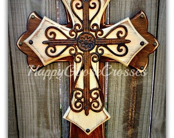 Wall Cross - Wood Cross - Medium - Stain and Antiqued Beige, with Rustic Swirly Iron Cross