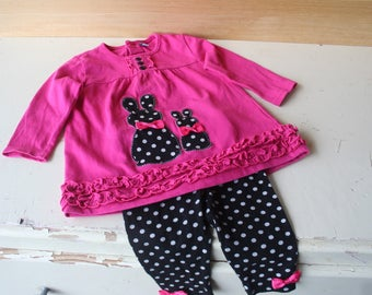 Dress, dress and pants baby girl 6 months sets. Rose Rose, Polka dots, bunnies.  Baby clothing.  Children's clothing.  French vintage.
