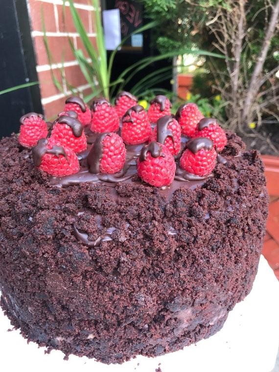 "New Vegan chocolate raspberry cake 8"" plant based"
