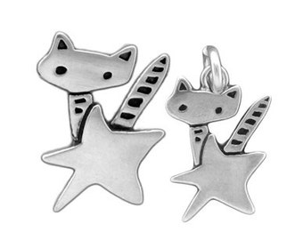 Mother Daughter Rocket Cat Necklace Set - Two Sterling Silver Cat Pendants with Stars