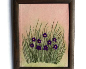 Fiber art Wall hanging Framed textile painting felt picture Home decor Gift for her