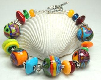 HORTICULTURE Handmade Lampwork Bead Bracelet