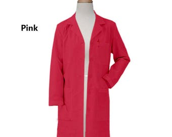 Free Shipping Colored Lab Coat in 37 inches long Three Pocket Women Lab Coat Nurse Coat Personalized Lab coat Black Lab Coat Custom Lab Coat