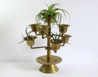 Large Brass Candelabra - Vintage Brass Candle Holder Swing Arm Brass Display Tree - Tiered Brass Planter Air Plant Holder - Industrial Decor