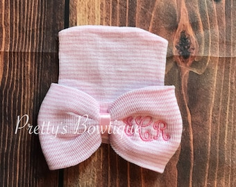 Baby hospital hat - Newborn girl hospital hat with bow - Take home hat - Coming home baby girl beanie- Newborn girl hospital hat Bow