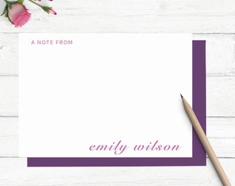 Personalized stationery set, Personalized calligraphy stationary, Modern stationary, flat note cards, custom notecards,    PSOO8