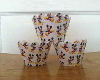 Mickey Mouse Cupcake Wrappers set of 12 Ready to Ship