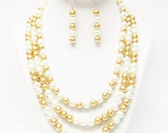 Three Strand White & Gold Glass Pearl Necklace/Bracelet/Earrings