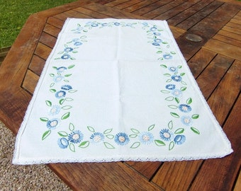 French vintage white linen table center ,table runner , hand made embroidered blue floral decor and lace trim