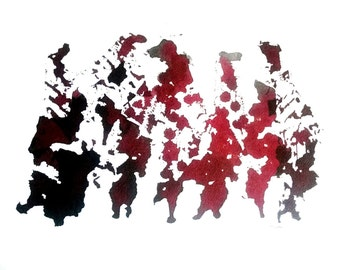 Ink Shadows - Abstract red and black Ink painting on paper