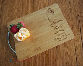 Personalised Engraved Bamboo cutting board S/S handle-Wedding/Anniversary gift-Gift for couple- and they lived happily (bride & groom image)