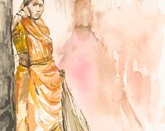 A5 Limited Edition archival giclee print from original watercolour/ watercolour painting drawing. lady sweeping, Amber, India.