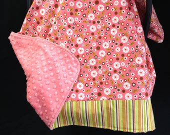 Car Seat Canopy/ Car Seat Cover/ Coral pink, White, Brown, Green, flowers, stripes