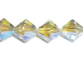 4mm Crystal Shadow AB2x  Swarovski Crystal 5301 5328 Bicone - Swarovski crystal, Crystal Passions®, Crystal Shadow AB2x - sold pack of 48