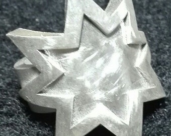 Star ring printed in 3d printer powered in silver 925