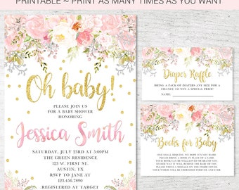 Pink Gold Blush Floral Baby Shower Invitation, Diaper Raffle, Book Request Printable Watercolor Floral, Pink Floral, Baby Girl Theme 2 BS003