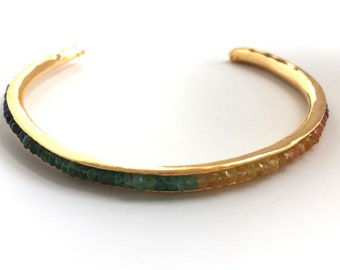 Anticlastic Birthstone Gemstone Cuff Bracelet Genuine Natural Rainbow Sapphire Emerald Ruby 18K Yellow Gold Plated Sterling SilveBangle
