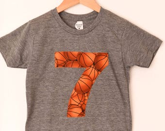 Boys Basketball Shirt, 7th Birthday Tshirt, Size 8, Triblend Short Sleeve Gray Tee, Bball Birthday Shirt, Applique 7 Seven, Ready to Ship