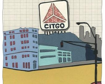 Kenmore Square Citgo Sign - Boston Print FREE SHIPPING