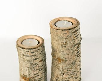 Set of 2 - Wood Candle Holders, Cottonwood Candle Holders, Tea Light Candle Holders, Rustic Candle Holders, Home Decor, Wedding Decor