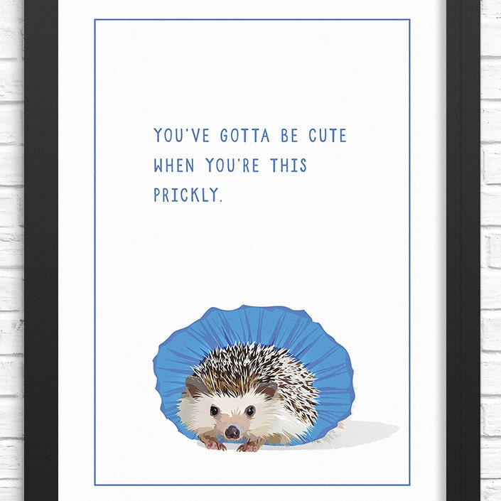 Funny Hedgehog Art Print Illustrated Hedgehog Tutu Wall Art