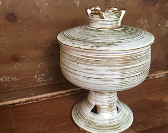 Vintage Mint Green and Gold Lidded Ceramic Dish